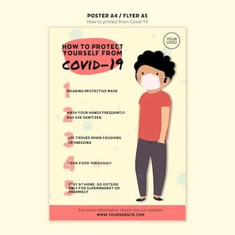 Chroń siebie i człowieka plakat szablon