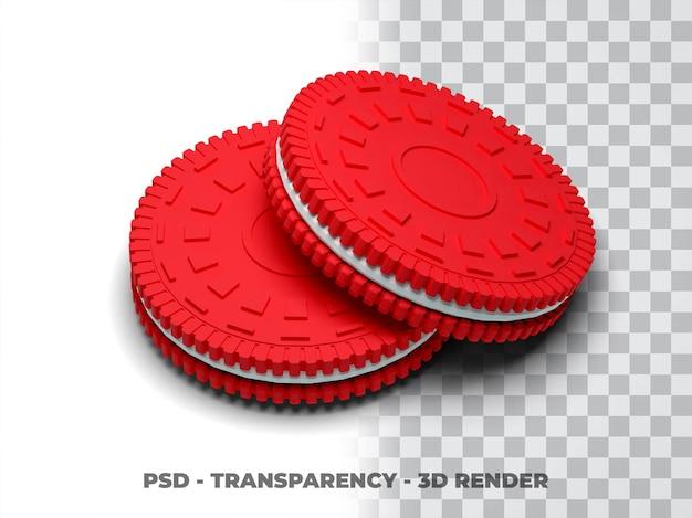 Ciasteczka oreo cookies render 3d z przezroczystym tlem