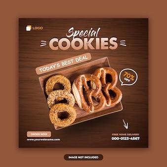 Ciasteczka sprzedaż social media post szablon transparent