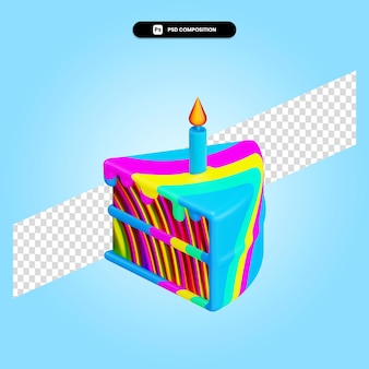 Ciasto 3d render ilustracja na białym tle