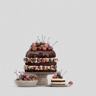 Ciasto 3d renderowane pojedyncze
