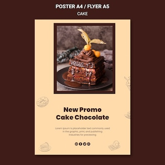 Ciasto czekoladowe nowy plakat sklepowy szablon