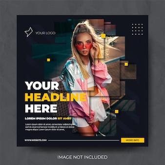 Ciemna dynamiczna sprzedaż modowa szablon kanału postu w mediach społecznościowych instagram