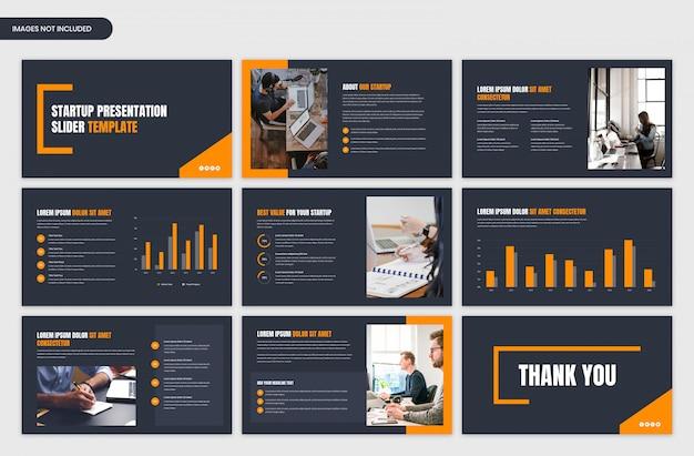 Ciemna prezentacja biznesowa i startowa oraz projekt szablonu suwaka przeglądu projektu
