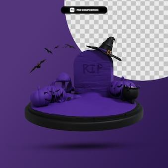 Ciemna scena halloween 3d render ilustracja na białym tle