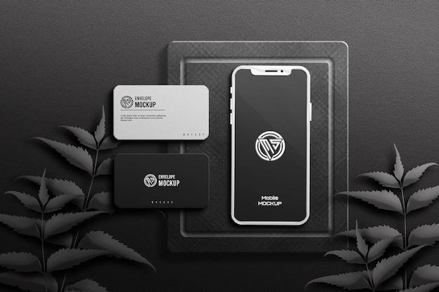 Ciemna wizytówka z makietą telefonu komórkowego