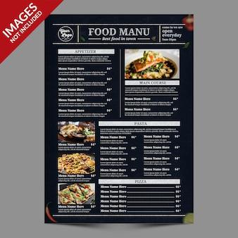 Ciemne menu żywności i napojów w stylu vintage najlepsze do promocji restauracji szablon psd premium