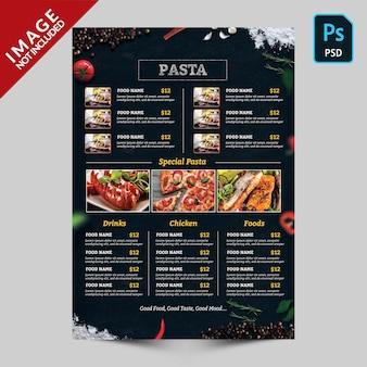 Ciemne menu żywności z obrazami żywności
