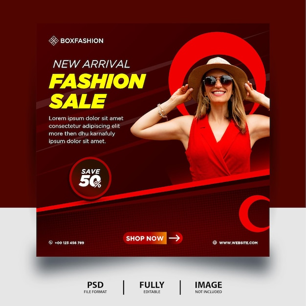 Ciemnoczerwony kolor moda sprzedaż social media post banner