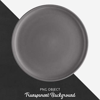 Ciemnoszary okrągły talerz ceramiczny na przezroczystym tle