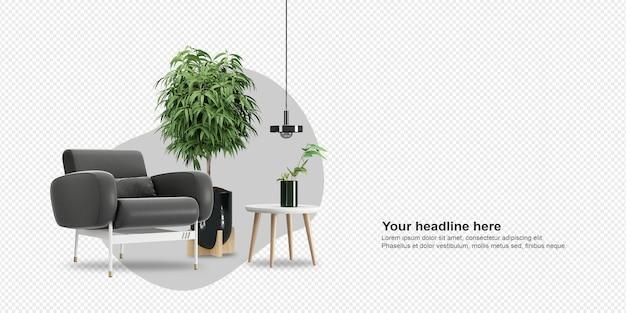 Ciemny fotel i roślina w renderowaniu 3d