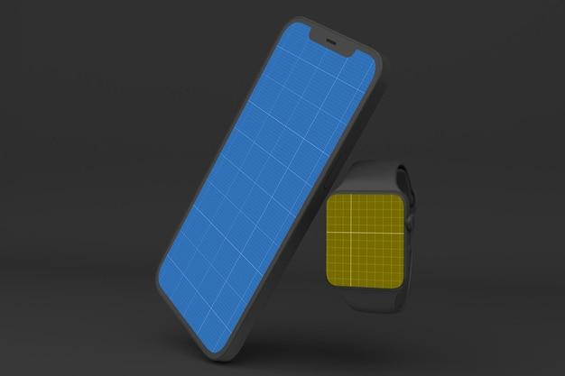 Ciemny inteligentny telefon i inteligentny zegarek