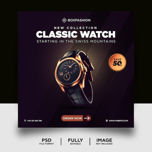 Ciemny kolor klasyczny zegarek marka produkt szablon banera reklamowego na media społecznościowe