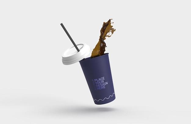 Ciemny niebieski papier filiżanka kawy powitalny rendering 3d na białym tle