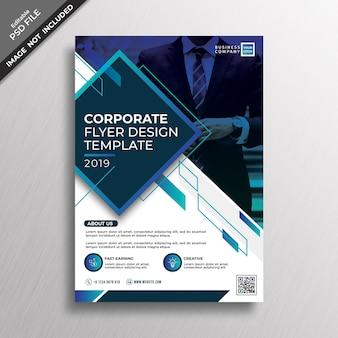 Ciemny niebieski szablon korporacyjnej ulotki gradientu