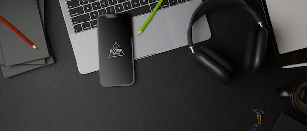 Ciemny obszar roboczy renderowania 3d z makietą smartfona