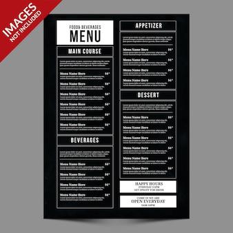 Ciemny prosty szablon menu restauracji lub kawiarni w stylu vintage