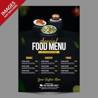 Ciemny prosty szablon menu żywności dla restauracji lub baru