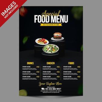Ciemny Prosty Szablon Menu żywności Dla Restauracji Lub Baru Premium Psd