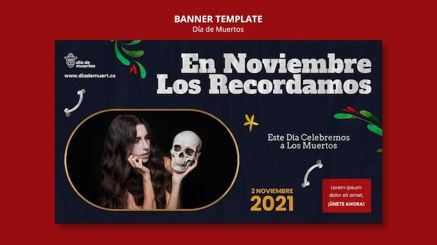 Ciemny szablon banera dia de muertos
