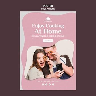 Ciesz się gotowaniem w domu szablon plakatu