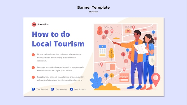 Ciesz się szablonem banera lokalnego turystyki