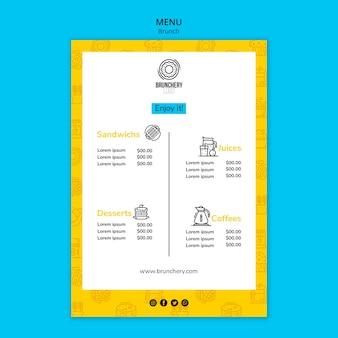 Ciesz się szablonem menu brunch