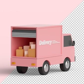 Ciężarówka dostawcza na białym tle renderowania 3d