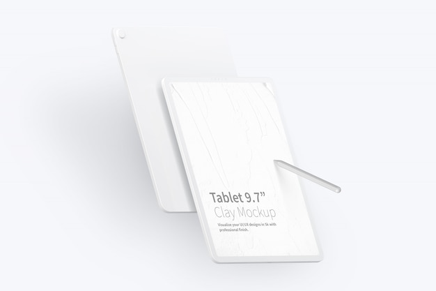 """Clay tablet pro 12.9 """"makieta, portret z przodu iz tyłu"""
