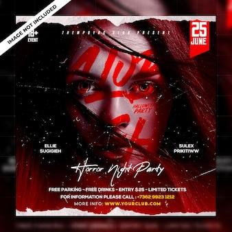 Club dj party flyer post w mediach społecznościowych i baner internetowy