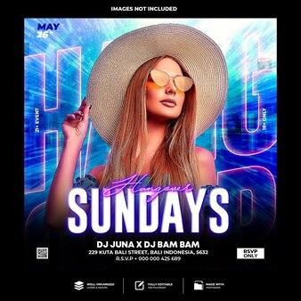 Club dj party flyer post w mediach społecznościowych i szablon banera internetowego