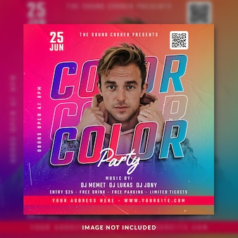 Club dj party flyer post w mediach społecznościowych i szablon banera