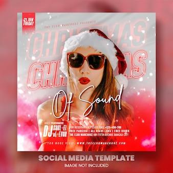 Club dj party świąteczna ulotka post w mediach społecznościowych