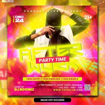 Club dj party ulotka post w mediach społecznościowych i baner internetowy psd