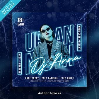 Club dj party ulotka w mediach społecznościowych i baner internetowy