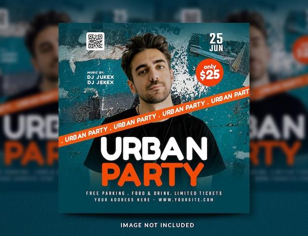 Club dj party ulotka w mediach społecznościowych i szablon banera