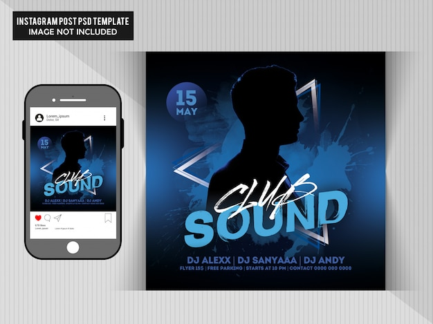 Club sounds party flyer dla instagram post