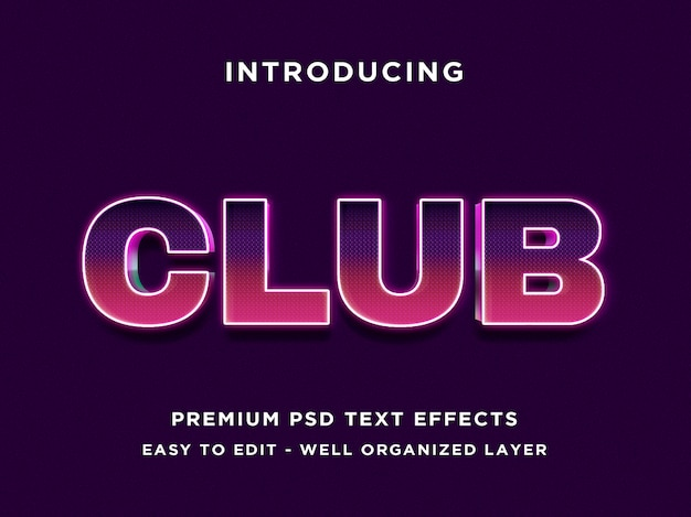 Club - styl tekstu 3d efekt czcionki szablony psd