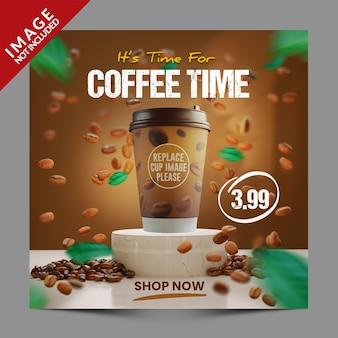 Coffee shop szablon promocji w mediach społecznościowych premium psd