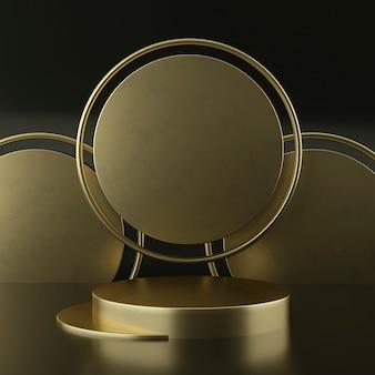 Cokół z czystego białego złota, złota rama, tablica pamiątkowa, abstrakcyjna minimalna koncepcja, pusta przestrzeń, czysty design, luksus. renderowania 3d