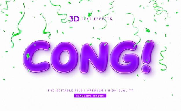 Cong! szablon efektu tekstowego 3d