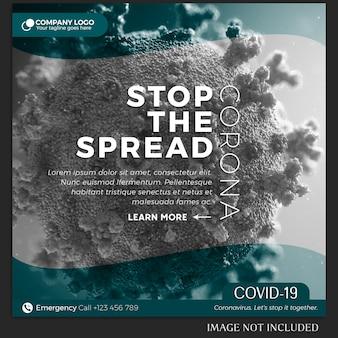 Coronavirus instagram post lub szablon transparentu