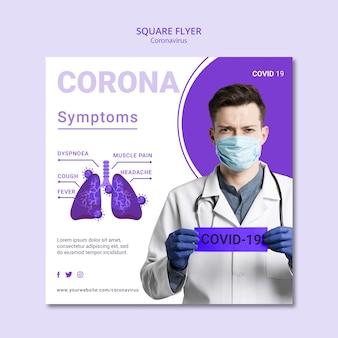Coronavirus kwadratowy projekt ulotki