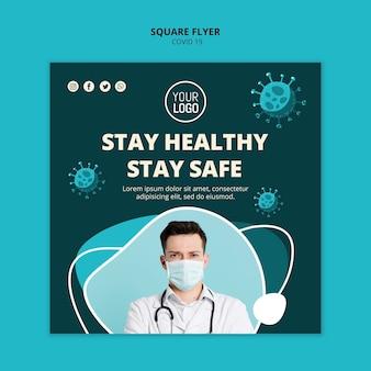 Coronavirus kwadratowy szablon ulotki ze zdjęciem