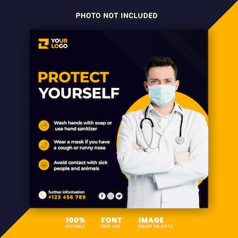 Coronavirus media społecznościowe kwadratowy post banner