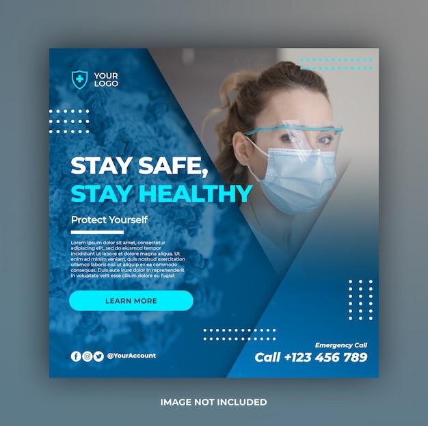 Coronavirus ostrzeżenie social media instagram kwadrat post banner szablon