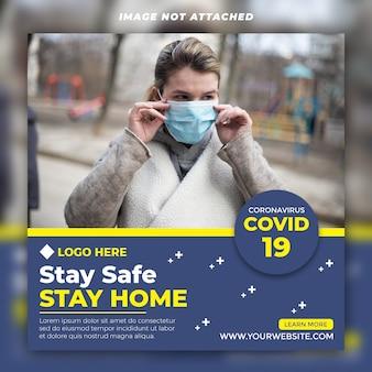 Coronavirus social media post psd