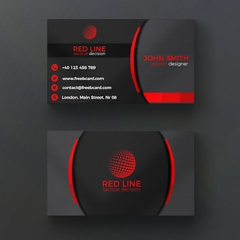 Corporate czerwony i czarny wizytówka