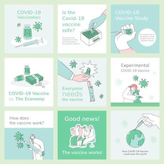 Covid 19 edytowalnych szablonów psd szczepienia w mediach społecznościowych post doodle ilustracja