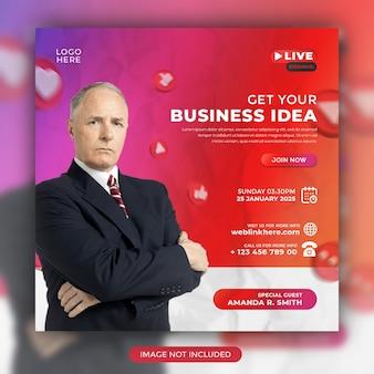 Creative business idea webinarium na żywo i szablon postu w mediach społecznościowych